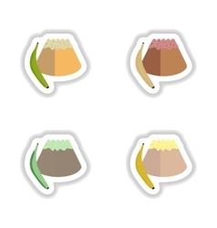 Set stylish paper stickers sweet bun with banana vector