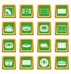 Sport stadium icons set green vector