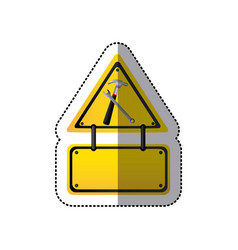 Sticker traffic sign with hammer and key vector