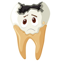 Tooth decay with sad face vector image