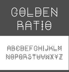 Trendy golden ratio thin line font vector