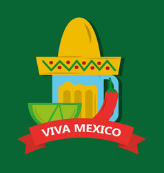 Viva mexico tequila lemon and hat mexican chili vector