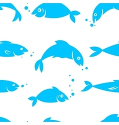 Watercolor seamless pattern with sea fish vector image