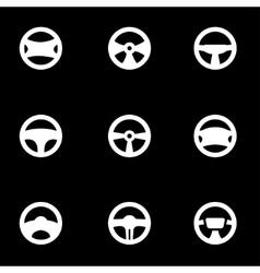 White steering wheels icon set vector