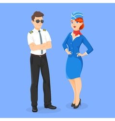 Flat style of aircrew pilot and stewardess vector