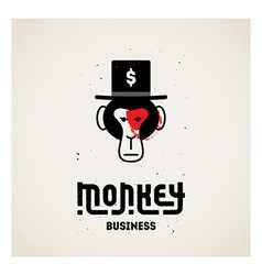 Monkey business - with ape face in hat orig vector