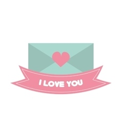 Message i love you pink banner vector