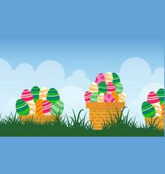 Easter egg on basket landscape vector