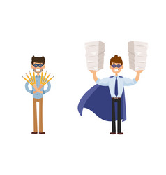 superhero business man set vector image