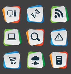 set of simple laptop icons vector image