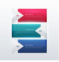 Three steps option infographic template in arrow vector