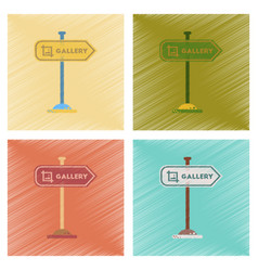 Assembly flat shading style icons sign gallery vector