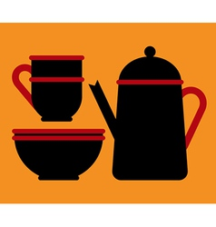 Teapot teacup and bowl vector