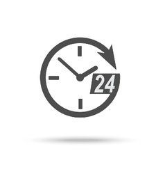24 hour assistance clock icon vector