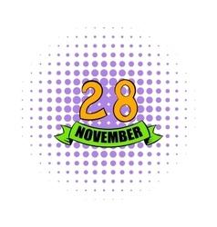 28 november date icon comics style vector