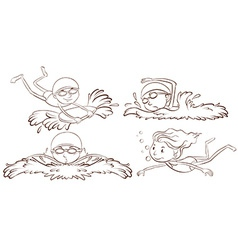 A sketch of people swimming vector image