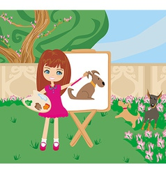 Little artist girl painting dog on large paper vector