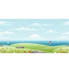 Sea landscape with sails vector
