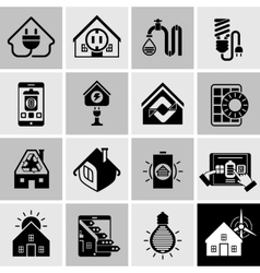 Energy efficiency icons black vector