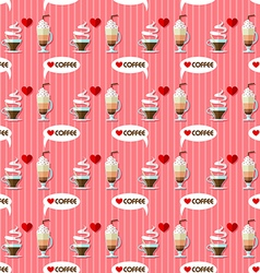 Hot coffee and cold coffee seamless pattern vector