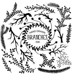 Hand drawn branches vector