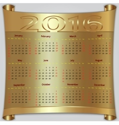 Calendar for 2016 year gold metallic vector