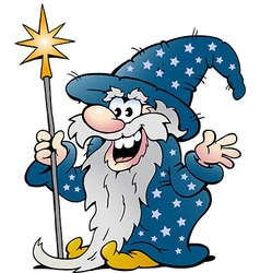 Cartoon of a happy old wizard magic man vector