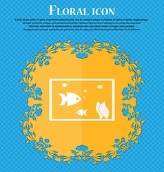 Aquarium fish in water icon sign floral flat vector