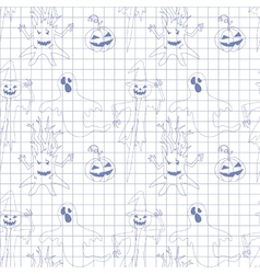 Seamless pattern with monsters in notebook print vector