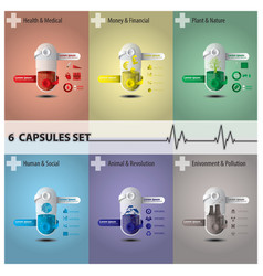 Health and medical capsule set vector