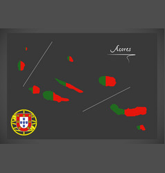 Acores portugal map with portuguese national flag vector