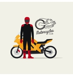 Biker with motorcycle in flat style vector image vector image