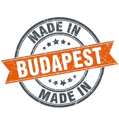 Budapest orange grunge ribbon stamp on white vector