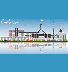 canberra skyline with gray buildings blue sky and vector image vector image