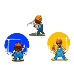 Cartoon builder bricklayer and engineer vector
