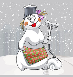 cartoon snowman woman with vacuum cleaner in hand vector image