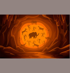cave with cave drawings cartoon mountain scene vector image