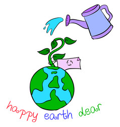 Collection earth day style cartoon vector