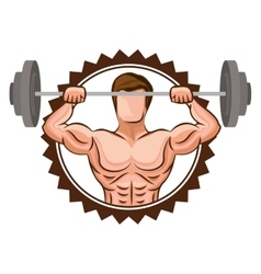 Colorful stamp border with muscle man lifting a vector