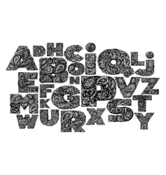 Decorative alphabet with a paisley zen doodle vector