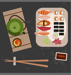 delicious sushi rolls and tee vector image vector image