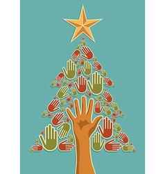 Diversity Christmas Tree hands vector image