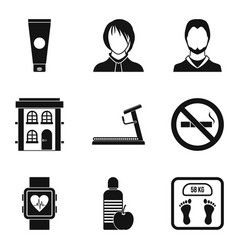 Doctor visit icons set simple style vector