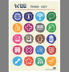 Doodle Internet web icons set drawn by chalk vector image vector image