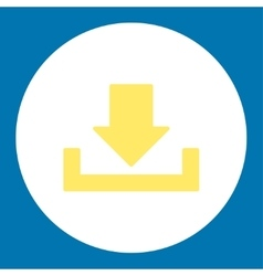 Download flat yellow and white colors round button vector
