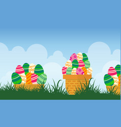 Easter egg on basket landscape vector