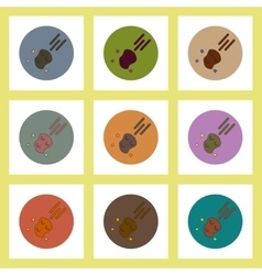 Flat icons set of space meteorite concept on vector