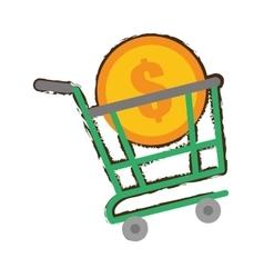 Green shopping cart online coin dollar sketch vector