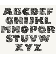 Hand drawn and sketched bold font vector image vector image