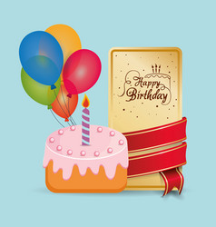 Happy birthday cake card wrapped ribbon balloons vector